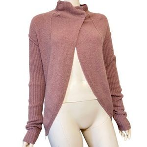 FREE PEOPLE Mauve Wool Blend Open Front Sweater